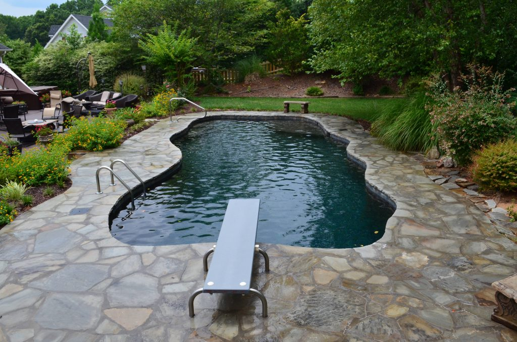 Located in Powdersville, SC, is a Free Form gunite pool with a tanning ledge. It features Black Pearl Pebble Tec.