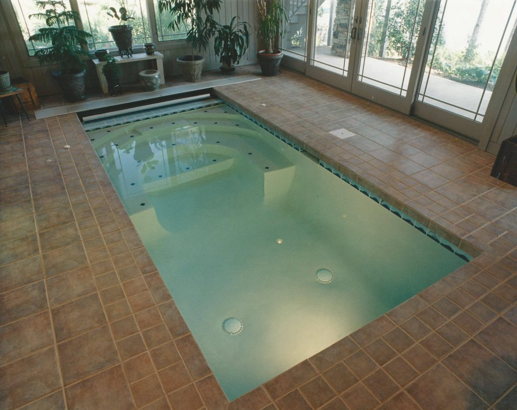 Located in Salem, SC, is an indoor Swim Spa. It features a Badu Jet swim resistance system and has an automatic cover.
