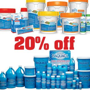 20% off all pool and spa chemicals