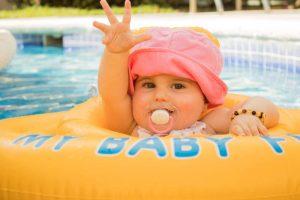 baby in float