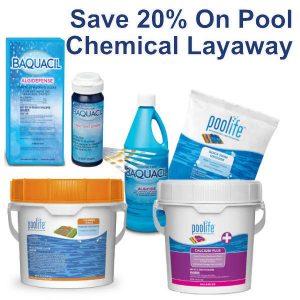 Save 20% on Pool Chemical Layaway